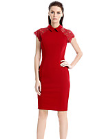 Women's Plus Size / Casual/Daily / Work Street chic Lace Sheath Dress,Solid Shirt Collar Knee-length Sleeveless