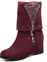 Women's Boots Fall / Winter Fashion Boots Leatherette Dress / Casual Flat Heel Sequin Black / Burgundy Others