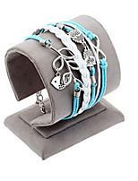 Retro Style Multilayer Sky Blue Leaf Owl Love Weave Wrap Bracelet