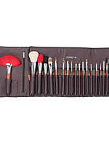 20 Pcs Red Wood Handle Goat Hair Makeup Brushes Sets With Bag