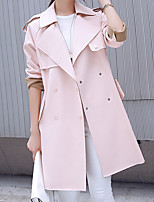 Women's Going out Cute Trench Coat,Solid Peaked Lapel Long Sleeve Fall Pink / Black / Gray Polyester Medium