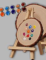 e-home® personlig DIY håndtegnet naturlig tre bryllupsgave - rundt staffeli (inkluderer 12 blekkfarger) stor størrelse