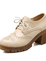 Women's Kitten-Heels Soft Material Lace-up Round Closed Toe Platform Pumps-Shoes