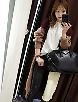 Women's Casual/Daily Street chic Long Cardigan,Color Block Brown Notch Lapel Long Sleeve Cotton Fall / Winter Medium