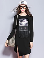 Sybel Women's Going out / Shift Dress,Patchwork Round Neck Above Knee Long Sleeve BlackPolyester /