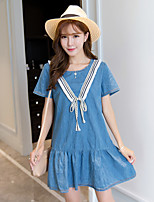 Women's Going out / Plus Size Simple Loose Dress,Solid Round Neck Above Knee Short Sleeve Blue Cotton / Polyester Summer Mid Rise