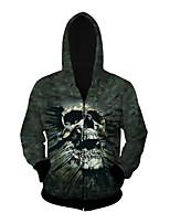 3D  Hoodie Long Sleeve Black Skull Printing Clothing