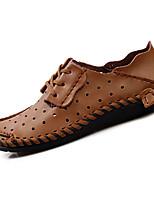 Masculino-Sandálias-Rasos-Rasteiro-Marrom / Cinza / Cor da Pele-Couro Ecológico-Casual