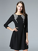 KLIMEDA Women's Casual/Daily Vintage A Line Dress,Embroidered Round Neck Above Knee ¾ Sleeve Polyester Fall