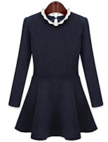 Women's Plus Size Sophisticated A Line Dress,Patchwork Round Neck Above Knee Long Sleeve Blue / Black Cotton Spring