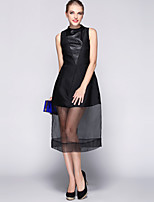 Boutique S Women's Going out Sophisticated A Line Dress,Solid Boat Neck Midi Sleeveless Black Polyester Spring / Summer