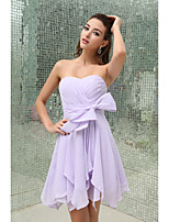 Lanting Bride® Short / Mini Chiffon Bridesmaid Dress Sheath / Column Strapless with Bow(s)