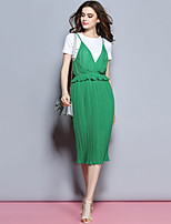 Sybel Women's Going out /  Street chic Loose Dress,Patchwork Round Neck Midi Short Sleeve Green / YellowCotton /