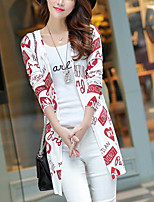 Women's Going out Simple Regular Cardigan,Print Pink / White Asymmetrical Long Sleeve Cotton Fall Medium