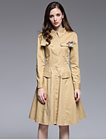Boutique S Casual/ Work / Sexy / Simple Sheath Dress,Solid Shirt Collar Knee-length Long Sleeve Beige CottonSpring