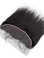 10inch to 20inch Черный Изготовлено вручную Прямые Человеческие волосы закрытие Умеренно-коричневый Швейцарское кружево about 50g грамм