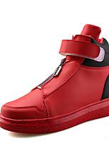 Черный / Красный / Черный и белый-Мужской-Для прогулок / На каждый день / Для занятий спортом-Полиуретан-На плоской подошве-Удобная обувь