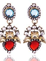 Vintage Design 2016 Ethnic Brincos Femme Crystal Flower Drop Earrings For Women Pendientes Earings Fashion Jewelry