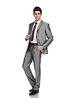 Tuxedos Tailored Fit Peak Single Breasted One-button Wool & Polyester Blended Solid 2 Pieces Gray