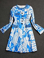 Boutique S Women's Going out Street chic Sheath Dress,Print Round Neck Mini Long Sleeve Blue / Green Cotton Summer