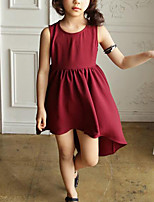 Girl's Casual/Daily Solid DressRayon Summer Black / Red