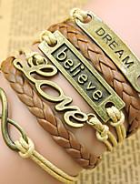 Retro Style Multilayer Brown Dream Love Anchor Weave Wrap Bracelet