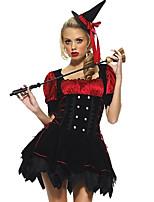 Costumes Sorcier Halloween Rouge & noir Couleur Pleine N/C Jupe / Chapeau
