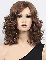 Le brun clair de la mode des femmes mélangent perruques synthétiques frisées moyennes pour les femmes perruque.