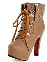 Feminino-Botas-Saltos / Plataforma / Conforto / Coturno / Botas Cano Curto / Arrendondado / Botas Montaria / Botas da Moda-Salto Grosso-