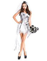 Costumes Zombie / Vampire / Esprit Halloween / Noël / Carnaval Blanc Vintage Térylène Robe / Coiffure