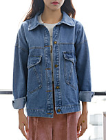 Women's Going out / Casual/Daily Simple / Fall Denim Jackets,Solid Shirt Collar Long Sleeve Blue Cotton Medium