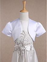 Kids' Wraps Shrugs Short Sleeve Satin White Wedding / Party/Evening Wide collar Draped Open Front
