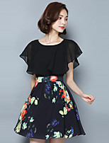 Women's Going out Street chic A Line Dress,Print Round Neck Above Knee Short Sleeve Black Polyester Summer