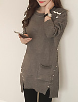 Women's Casual/Daily Simple Long Cardigan,Solid Gray Round Neck Long Sleeve Rayon Fall Medium