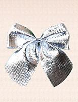 12pcs felices de plata del árbol de navidad Decoración del partido bowknot jardín suministros navidad chucherías