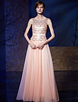 Formal Evening Dress A-line Jewel Floor-length Tulle / Charmeuse / Sequined with Sash / Ribbon / Sequins