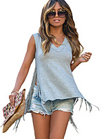 Women's Casual/Daily Street chic Summer T-shirt,Solid V Neck Sleeveless Blue / Red / Gray Cotton / Rayon Thin