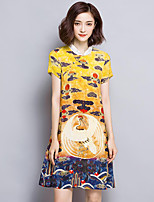Women's Plus Size Vintage / Sophisticated Sheath Dress,Print Stand Above Knee Short Sleeve Yellow Silk Summer