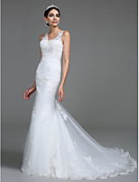 Lanting Bride® Trumpet / Mermaid Wedding Dress Court Train V-neck Tulle with Appliques