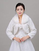 Women's Wrap Shrugs Long Sleeve Faux Fur Ivory Wedding Rolled collar 34cm Pattern Lace-up