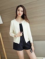 Women's Casual/Daily Simple Regular Cardigan,Solid  Round Neck Long Sleeve Cotton Spring Medium