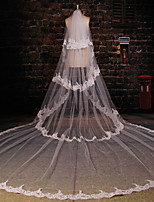 Wedding Veil Two-tier Cathedral Veils Lace Applique Edge Tulle / Lace Ivory