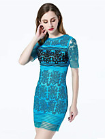 KLIMEDA  Women's Casual/Daily Vintage Shift Dress,Embroidered Round Neck Above Knee Short Sleeve Polyester Summer