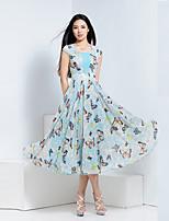 BORME® Damen V-Ausschnitt Kurze Ärmel Wadenlänge Kleid-W033LB