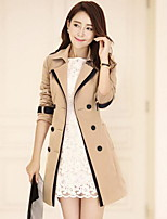 Women's Casual/Daily Simple Trench Coat,Color Block Peter Pan Collar Long Sleeve Fall Beige /