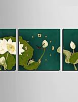 Moderno/Contemporáneo Floral/ Botánico Reloj de pared,Cuadrado Lienzo 30 x 60cm(20inchx20inch)x2pcs+ 60 x 60cm(24inchx24inch)x1pcs