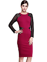 Women's Plus Size / Casual/Daily / Work Street chic Bodycon Dress,Color Block Round Neck Knee-length Long Sleeve