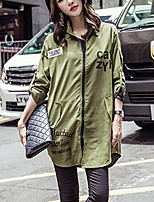 Women's Going out Simple / Street chic Trench Coat,Letter Square Neck Long Sleeve Fall Green Polyester Medium