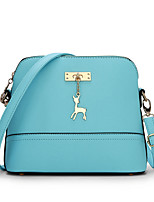 Women PU Casual Shopping Deer Pendant Solid Color Shell Package Shoulder Key Holder  Cosmetic Bag Mobile Phone Bag