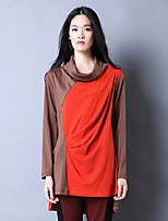 Women's Casual/Daily Simple Spring / Fall T-shirt,Color Block Cowl Long Sleeve Black / Brown Polyester Medium